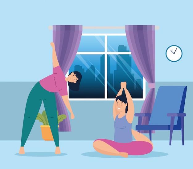 Femmes pratiquant l'exercice et le yoga à la maison
