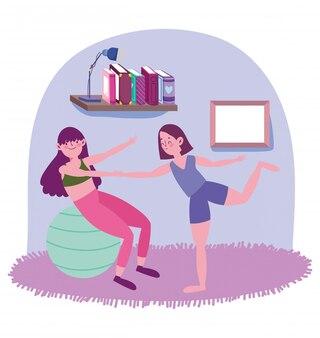 Femmes pratiquant le yoga avec ballon dans la chambre, exercices à la maison