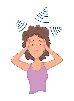 Femmes présentant des symptômes de stress - dépression. problème de santé émotionnelle ou mentale, stress. notion de personnage de dessin animé.