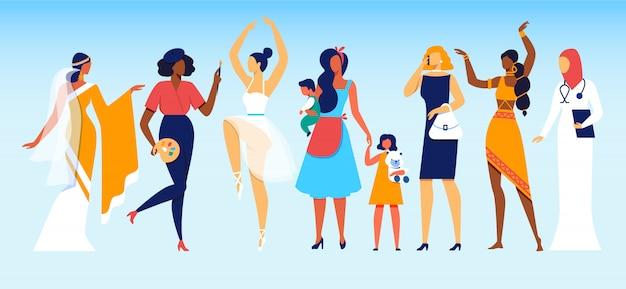 Femmes de professions et de statut social différents