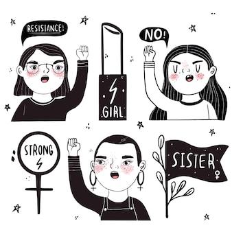 Femmes puissantes en noir et blanc