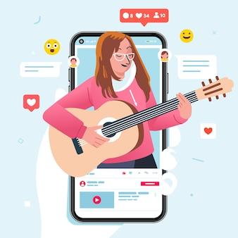 Les femmes qui chantent en jouant de la guitare dans le contenu vidéo sur le partage de vidéos ont reçu de nombreux likes et commentaires