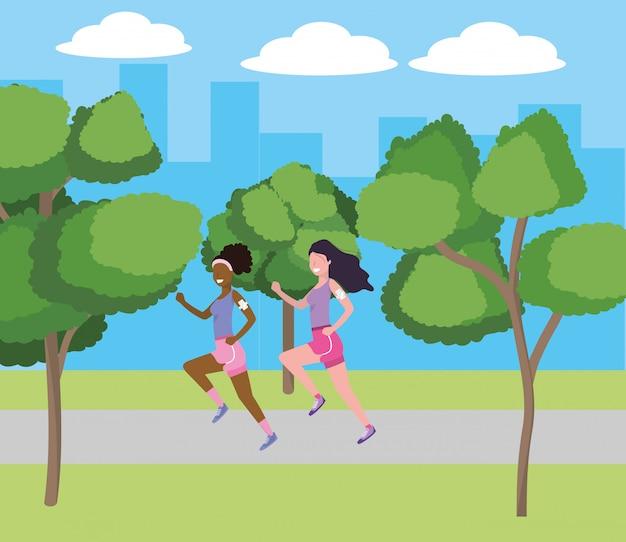 Femmes qui courent avec sportwear