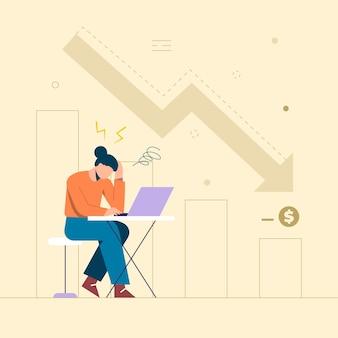 Les Femmes Qui Réfléchissent Profondément à Son Entreprise Diminuent Par Rapport Au Mois Dernier. Fatigué Et Pensant Au Développement. Vecteur gratuit