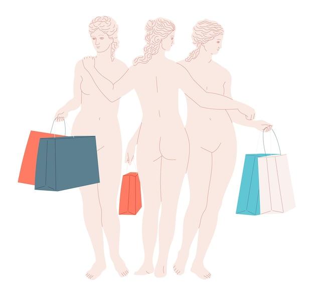 Femmes avec des sacs à provisions. sculpture les trois grâces.