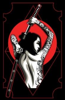 Femmes samouraïs avec tatouage