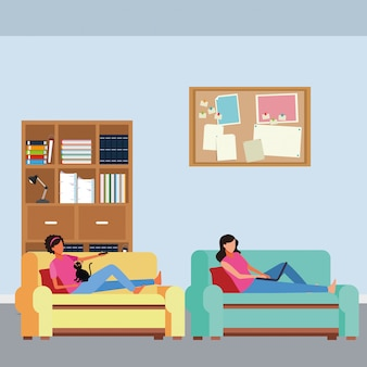 Les femmes sans visage se détendent dans le salon