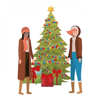 Femmes avec sapin de noël et cadeaux avatar