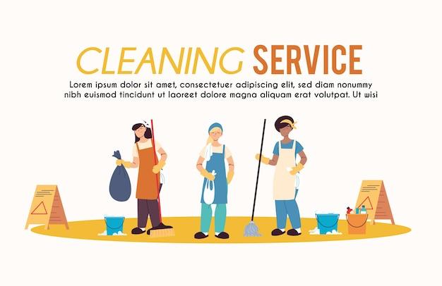 Femmes avec tablier en service de nettoyage desing illustartion