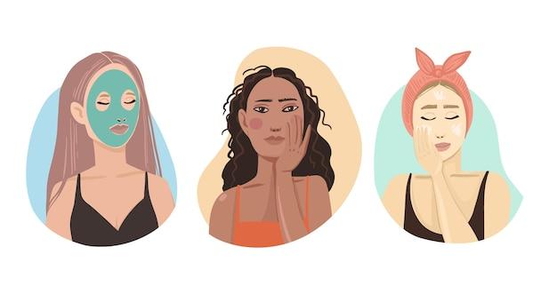 Les femmes utilisant des crèmes pour la routine de soin de la peau