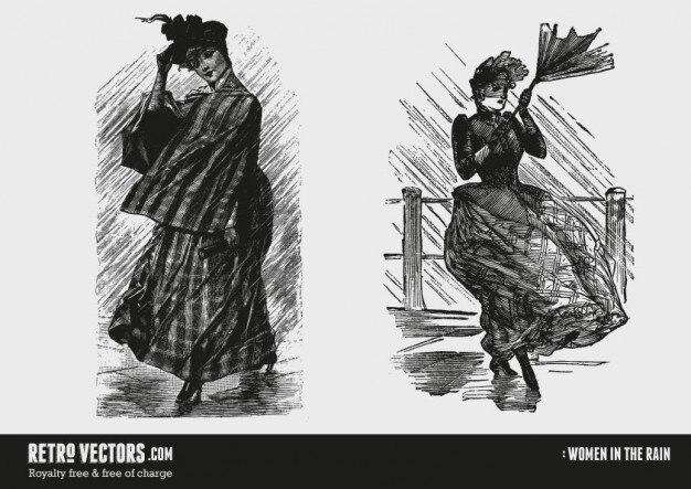 Les femmes victoriennes sous la pluie
