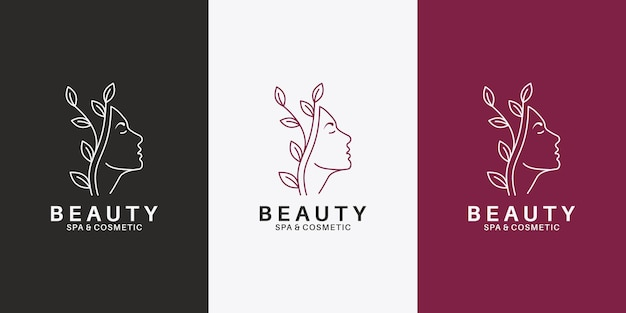 Femmes de visage de beauté avec la conception de logo de feuille