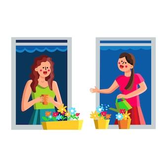 Femmes voisines discutant à travers la fenêtre