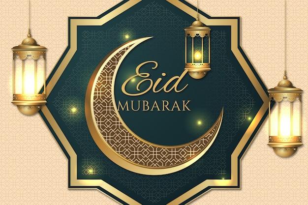 Fenêtre arabe et lune eid mubarak réaliste