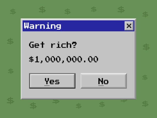 Fenêtre d'avertissement avec message sur l'illustration plate de vecteur de prix gagnant
