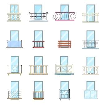 Fenêtre balcon forme ensemble d'icônes