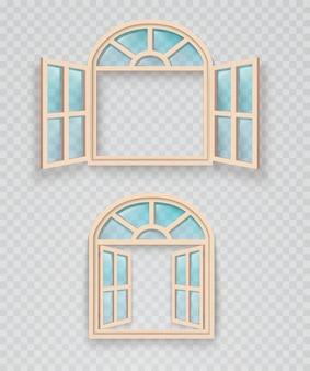 Fenêtre en bois ouverte et fermée sur fond transparent. cadres de fenêtres extérieurs et intérieurs.