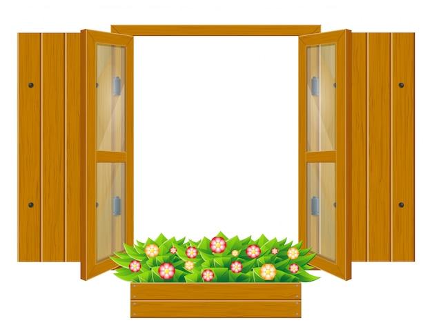 Fenêtre en bois ouverte avec volets et verre transparent pour illustration vectorielle de conception
