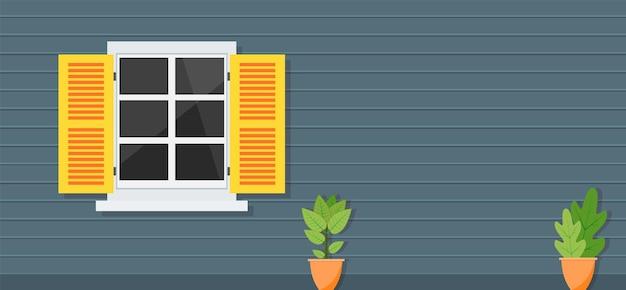 Fenêtre en bois de vue de face de la maison, l'arrière-plan de l'architecture,