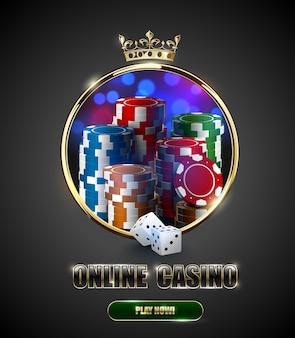 Fenêtre de cadre doré de roulette de casino ronde avec couronne, pile de jetons de poker et dés blancs sur fond flou lumineux. affiche de vecteur vintage de club de jeu en ligne.