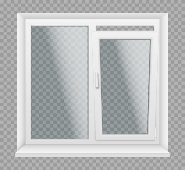 Fenêtre avec cadre en plastique blanc, appuis et panneaux de verre, élément d'architecture et de design d'intérieur. fenêtres 3d réalistes avec profilés pvc, métal ou aluminium, poignées de verrouillage. illustration vectorielle