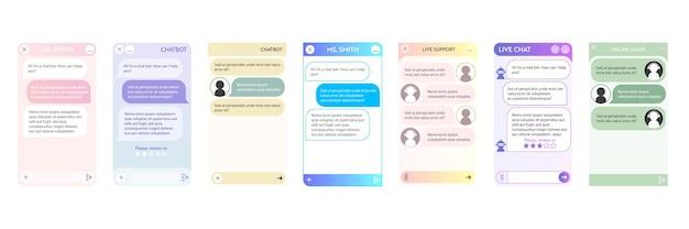 Fenêtre de chatbot. interface utilisateur de l'application avec dialogue en ligne. conversation avec un robot assistant