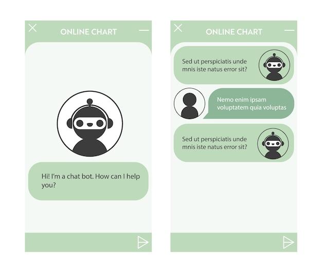 Fenêtre de chatbot avec jeu de pages de démarrage. interface utilisateur de l'application avec dialogue en ligne. conversation avec un robot assistant