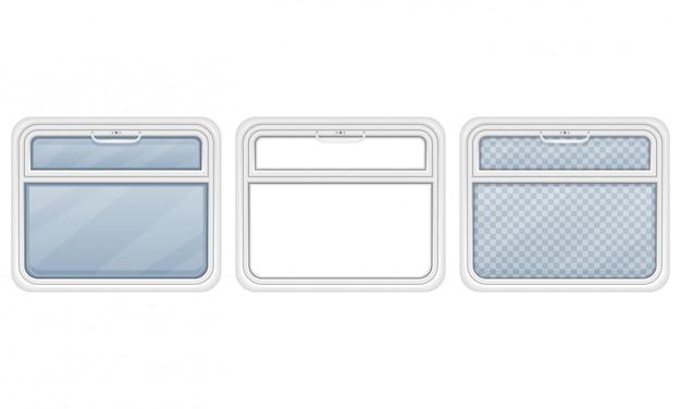 Fenêtre dans l'illustration vectorielle du compartiment de train