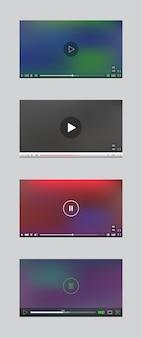 Fenêtre du lecteur vidéo avec menu et ensemble de vecteurs de panneau de boutons. collection d'interfaces utilisateur.