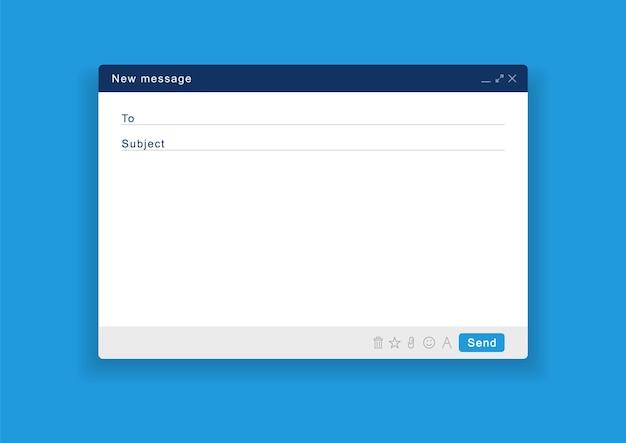 Fenêtre e-mail vide. écran de courrier électronique modèle avec message électronique.