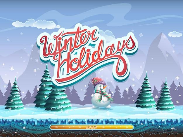 Fenêtre d'écran de démarrage de bonhomme de neige de vacances d'hiver