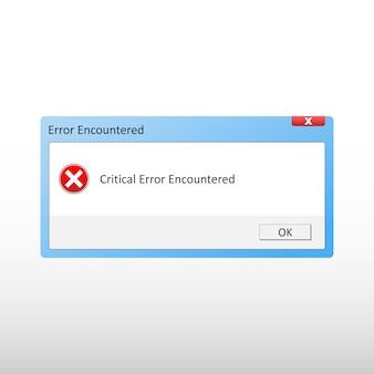 Fenêtre d'erreur critique