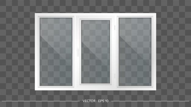 Fenêtre en métal-plastique blanc avec verres transparents.