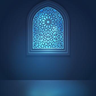 Fenêtre de mosquée pour fond de voeux islamique