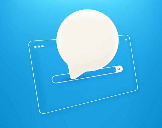 Fenêtre de navigateur internet simple avec nuage de discours en perspective