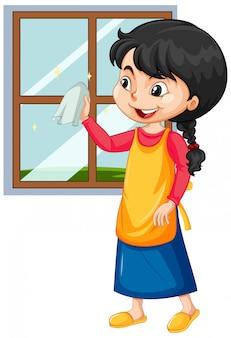 Fenêtre de nettoyage fille sur blanc