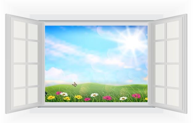 Fenêtre ouverte de beaux champs de fleurs