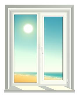 Fenêtre en plastique blanc et ciel bleu
