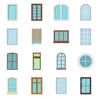 Fenêtre en plastique forme des icônes définies dans un style plat