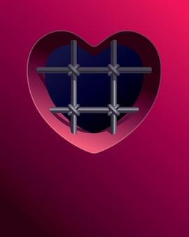 Fenêtre De La Prison Avec Des Barreaux En Forme De Coeur Vecteur Premium