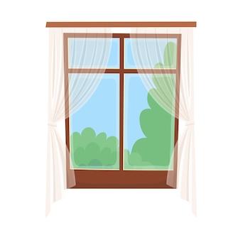 Fenêtre avec un rideau transparent.
