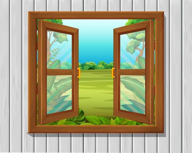 Fenêtre à la scène de la nature
