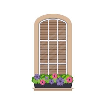 Fenêtre semi-circulaire avec des fleurs dans un style plat. fenêtre avec volets. vecteur