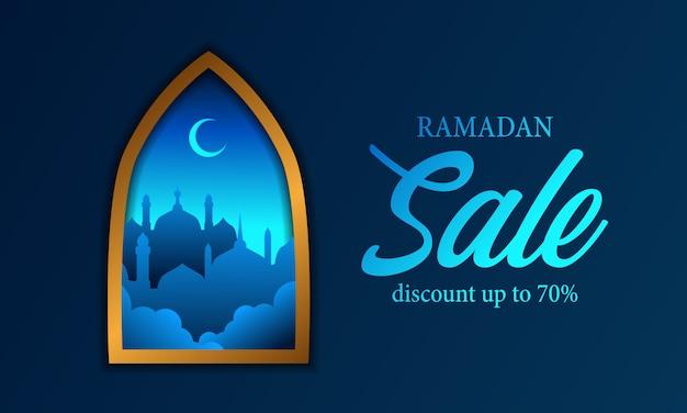 Fenêtres avec cadre doré avec ramadan silhouette mosquée bleue