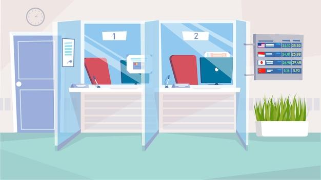 Fenêtres de caisses au concept d'intérieur de banque dans un dessin animé plat. postes de travail de caissier avec ordinateurs, chaises, racks clients, tableau avec taux de change. fond horizontal illustration vectorielle