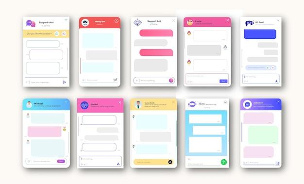 Fenêtres de discussion en ligne définies pour le style de thème léger de site web et d'application mobile isolé sur fond blanc