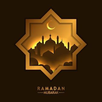 Fenêtres étoiles de cadre doré de luxe magnifique avec silhouette mosquée