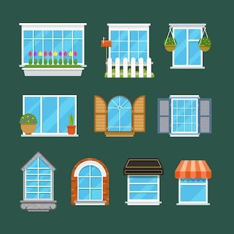 Fenêtres avec rebords de fenêtre rideaux fleurs ensemble plat de balcons