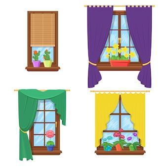 Fenêtres avec rideaux et fleurs