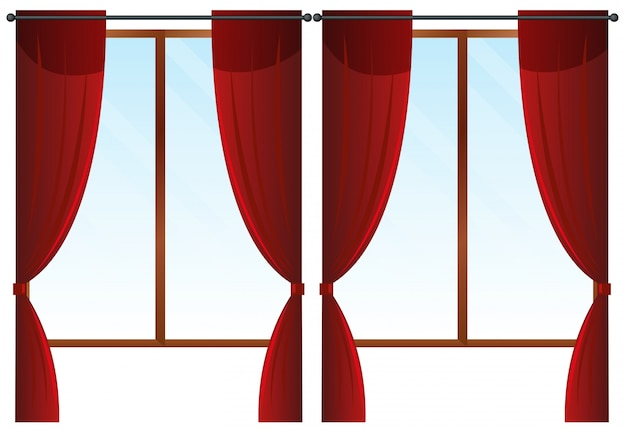 Fenêtres avec des rideaux rouges